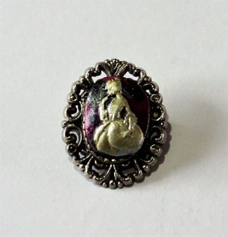 Gothic Lolita purple marble effect lady cameo brooch