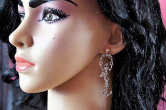 Silver 3D mermaid and jewel stud earrings