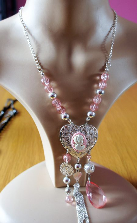 Pink and silver cameo lady cameo heart and bead necklace