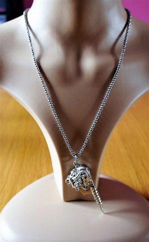 Silver 3D tattoo gun pendant necklace (unisex)