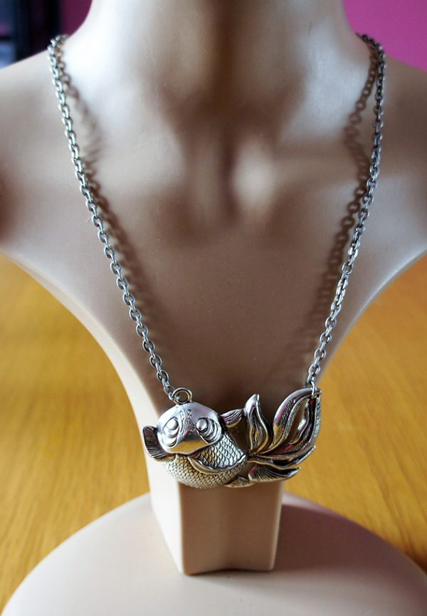 3D silver fish necklace