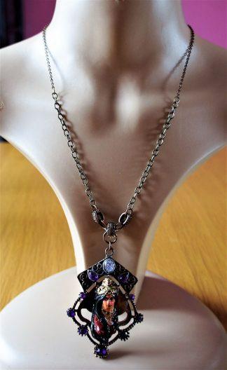 Lakshmi 3D large pendant and purple jewel copper necklace