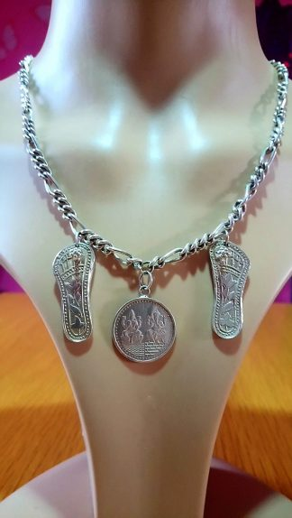 Sterling silver Shiva Ganesha coin with sandals necklace