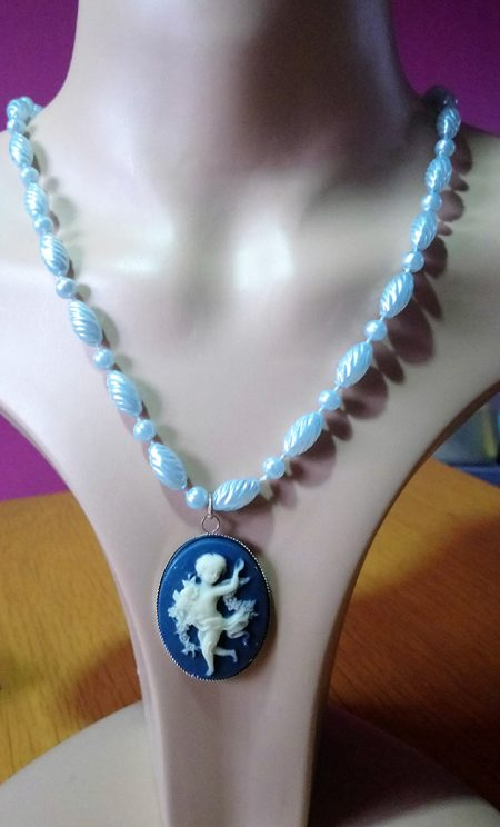 Bohemian chic fantasy boy angel cameo and bead necklace