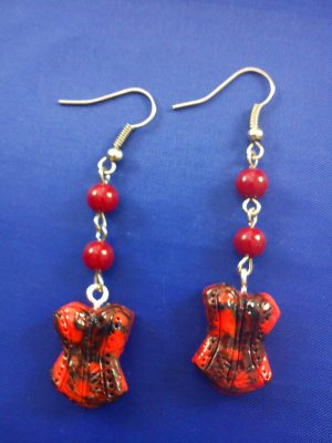 Gothic Burlesque red marble 3D corset earrings