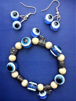 Gothic eye beaded necklace bracelet earring set