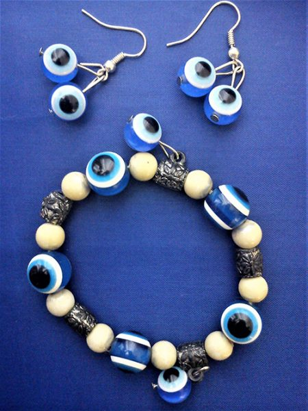 Gothic eye beaded necklace bracelet earring set