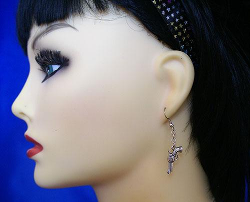Silver 3D gun and drop chain earrings