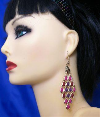 Gold peacock ( red purple pink) bead earrings