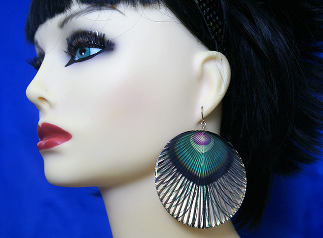 Peacock feather large cameo earrings