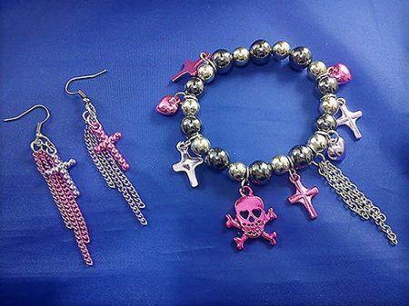 Punk Lolita metallic skull and cross bracelet and earring set