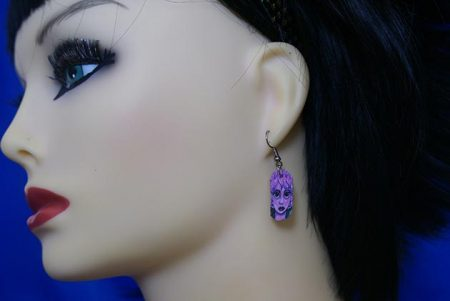 Purple fairy face cameo earrings