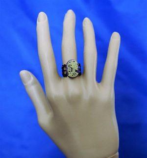 Purple skeleton lady cameo ring