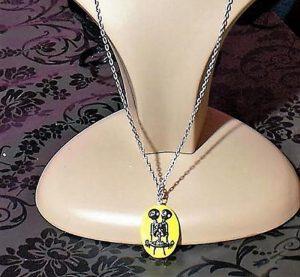 Gothic Lolita Siamese skeleton twins cameo (yellow) necklace