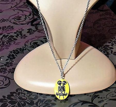 Gothic Lolita Siamese skeleton twins cameo (yellow) necklace