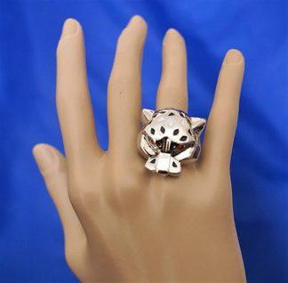 Silver robo cat (unisex) ring