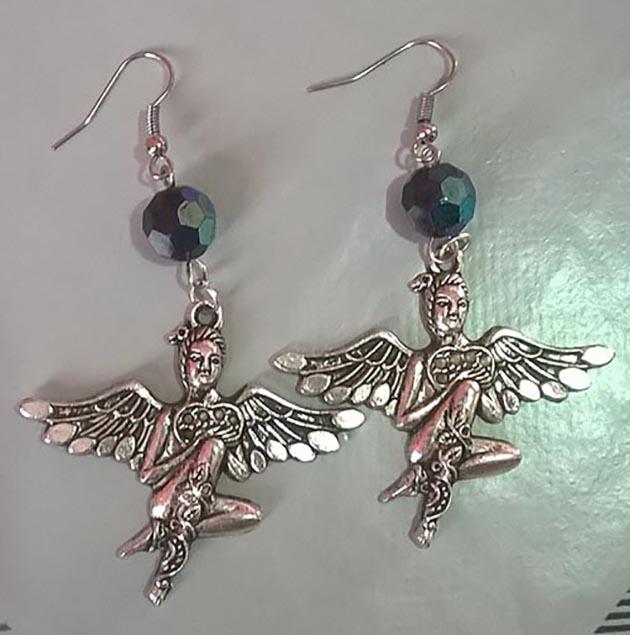 Silver 3D Steampunk fantasy fairy crystal bead earrings