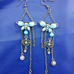 Blue butterfly drop chain earrings