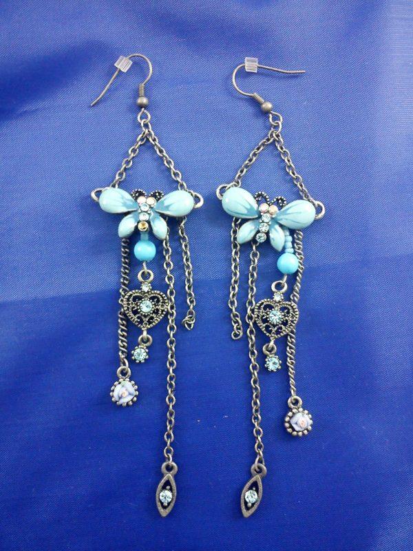 Blue butterfly drop chain earrings