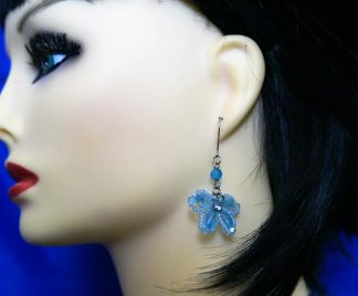 Blue jewel butterfly earrings