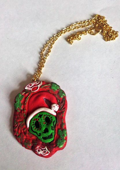 Christmas day of the dead cameo necklace