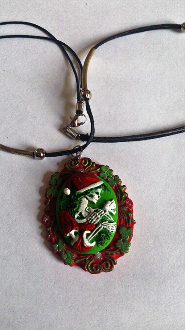 Christmas skeleton lady and dove cameo necklace