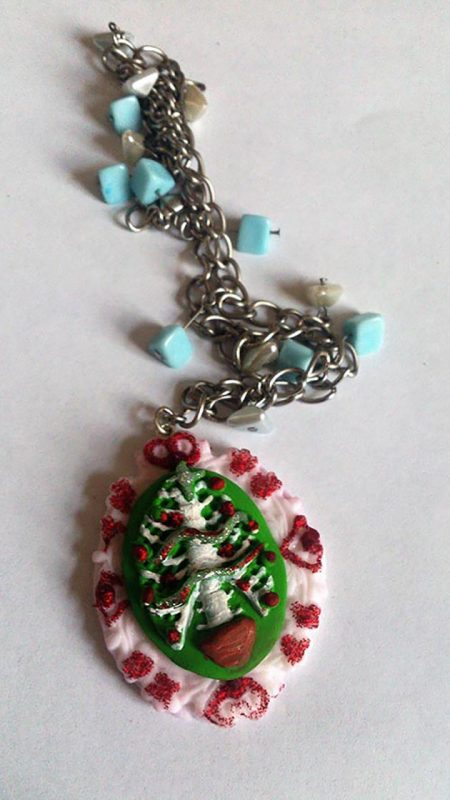 Christmas skeleton bone tree cameo necklace