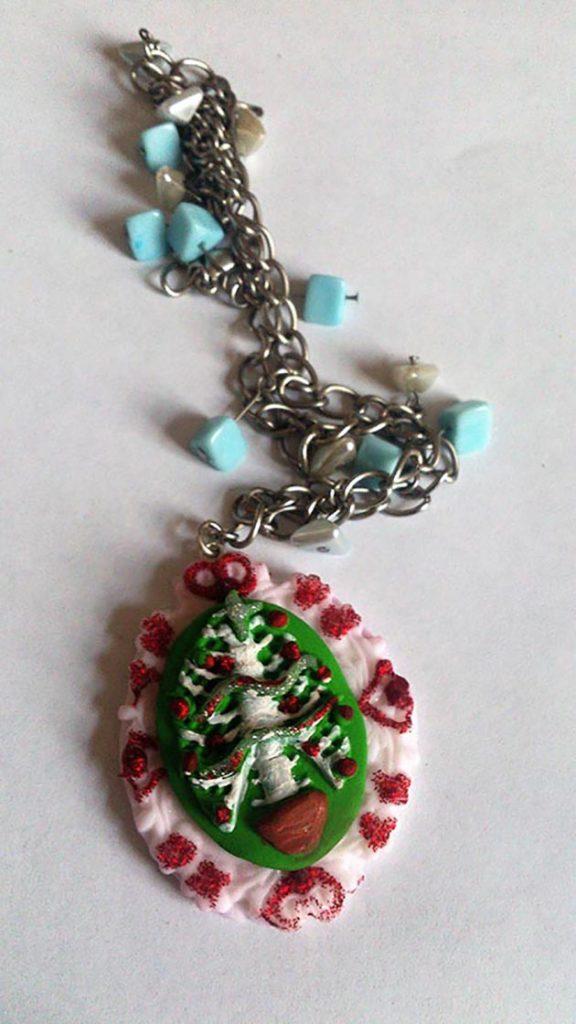 Christmas skeleton bone tree cameo necklace