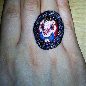Ganesha 3D colour cameo (2) ring