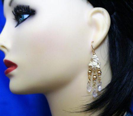 Gold Ganesha chandelier earrings