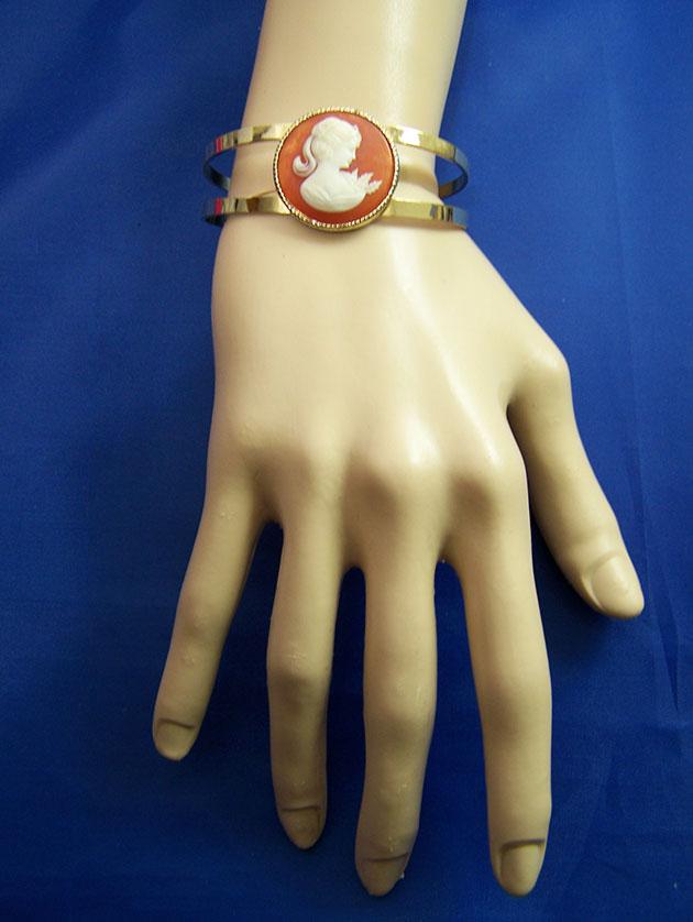 Steampunk Lolita cameo bangle cuff bracelet