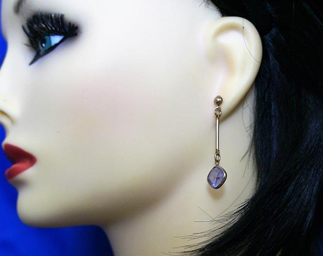 Purple jewel drop lever earrings