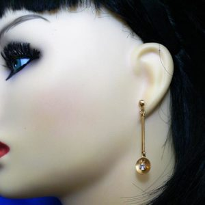 Gold medallion and jewel drop lever earrings