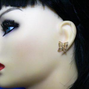 Gold filigree butterfly stud earrings
