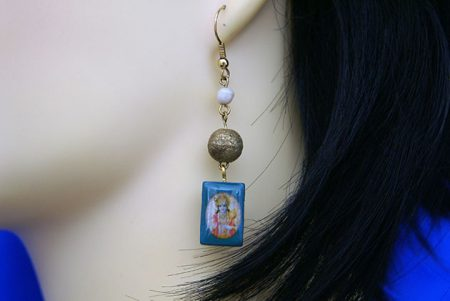 Krishna blue tile and gold bead earrings