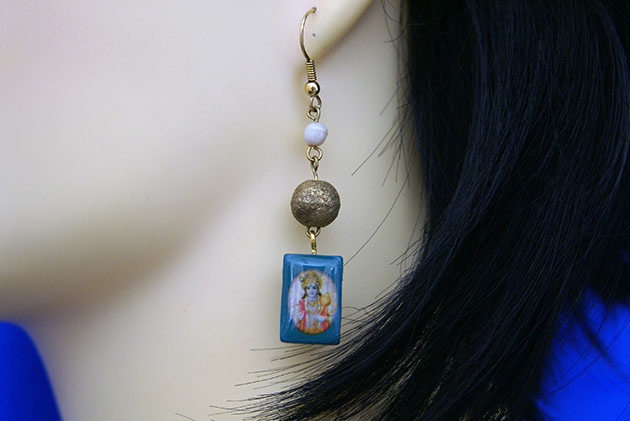 Krishna blue tile and gold bead earrings