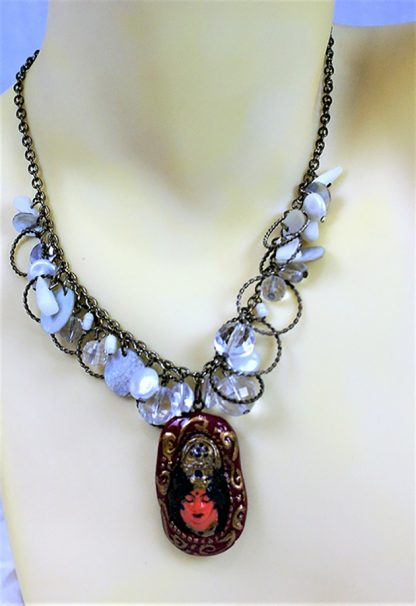 Lakshmi in prayer colour cameo and shell bead chain necklace
