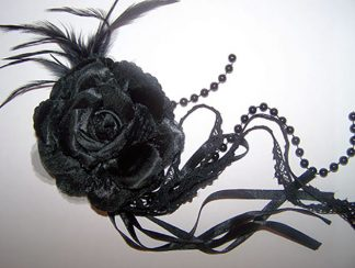 Gothic Lolita black rose bead / ribbon brooch