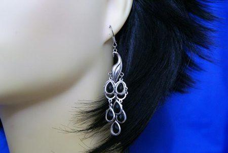 Silver 3D peacock with black teardrop bead earrings