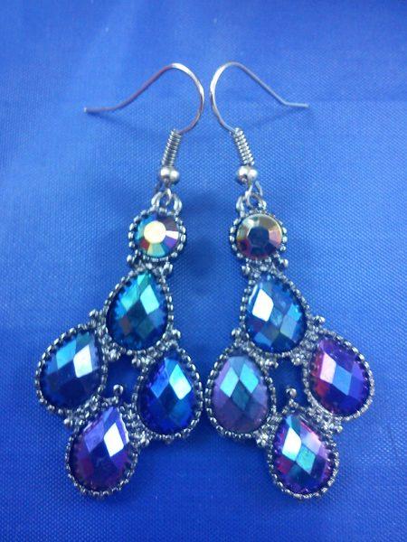 Peacock purple crystal bead earrings