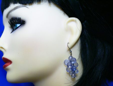 Purple 3D cluster bead earrings
