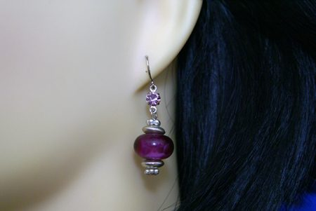 Purple and silver lantern style earrings