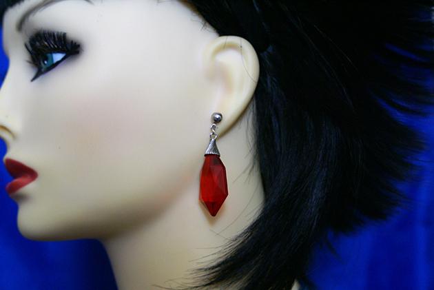 Red crystal bead earrings