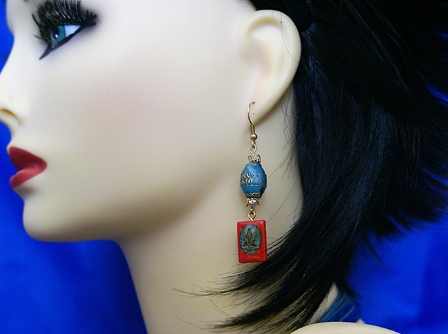 Shiva red tile and blue bead earrings