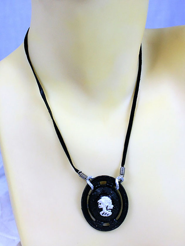 Gothic Steampunk black skeleton lady cameo steamboat style necklace