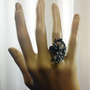 Black and silver jewel peacock ring