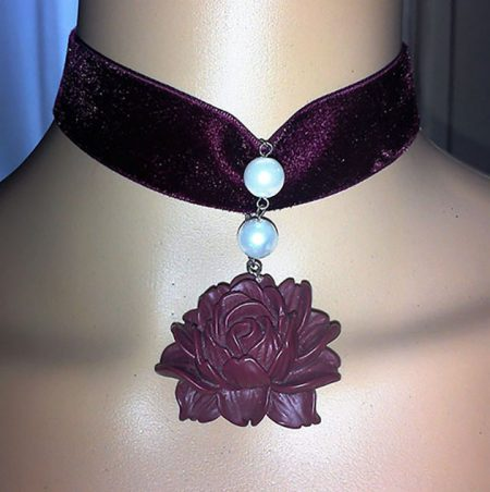 Lolita 3D wine red flower cameo choker necklace
