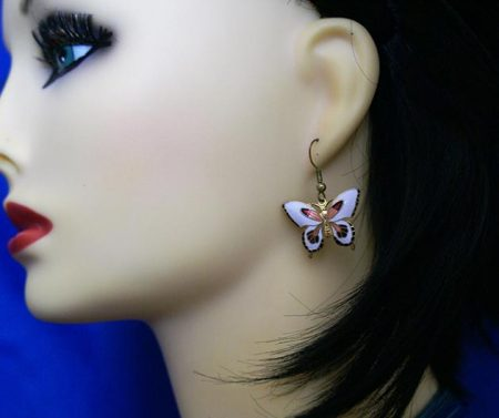 White fantasy Lolita butterfly earrings
