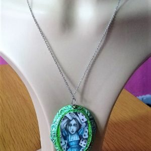 Alice falling cards cameo and drop charm necklace