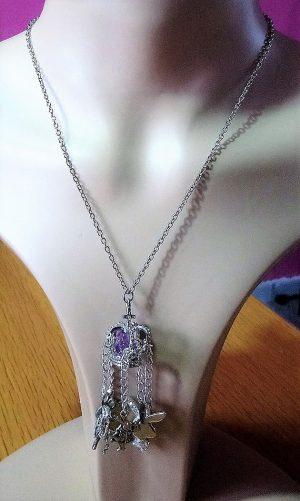 Lolita silver 3D jewel crown hare rabbit heart charm necklace